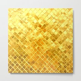 Give me Gold: festive, golden, fashionable, 3-d, glittery, Christmas, cheerful, lattice design Metal Print