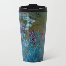 Monet Irises and Water Lilies Travel Mug