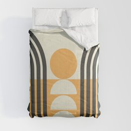 Geometric Lines in Gold and Black 6 (Rainbow and Sunrise Abstract) Comforters