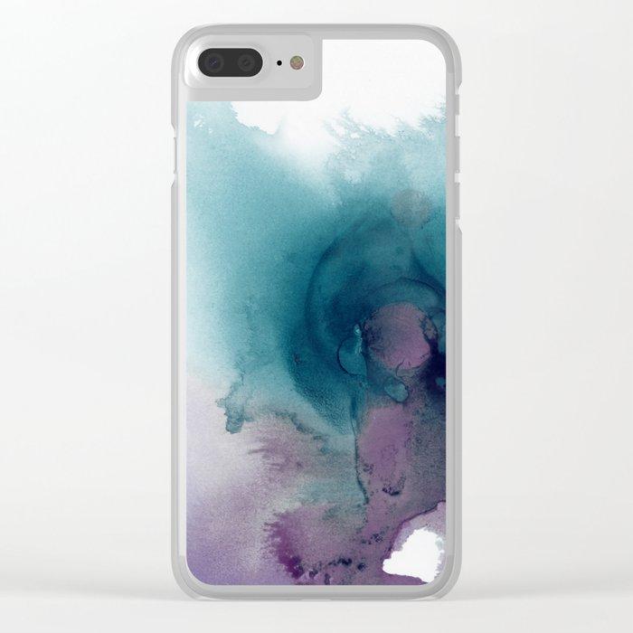 Teal Ultra Violet Vortex Clear iPhone Case