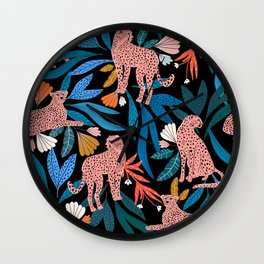 Cheetah jungle/tropical print Wall Clock