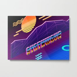 Isometric Synthwave: Sunset Metal Print