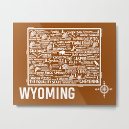 Wyoming Map  Metal Print