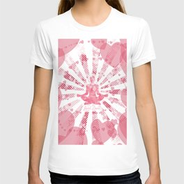 Just love - pink pop art Illustration of a man in yoga on the background of hearts T-shirt