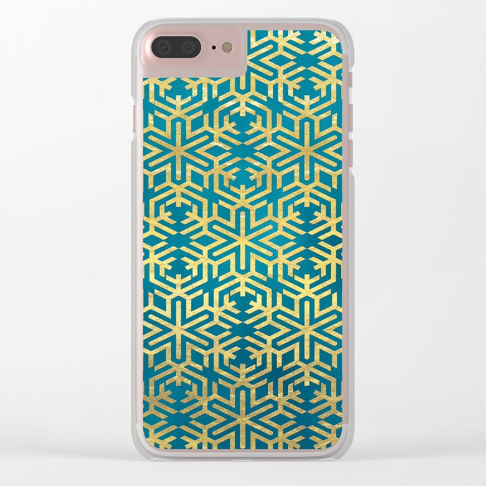 Turquoise and Gold Snowflake Pattern Clear iPhone Case