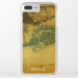 Brooklin 1898 vintage map, usa old vintage maps Clear iPhone Case