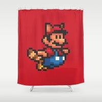 super mario Shower Curtains featuring Pixelated Super Mario Bros - Mario by Katadd