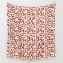 Hand drawn confectionery croissant Cupcake candy ice cream cake donut and coffee Wall Tapestry