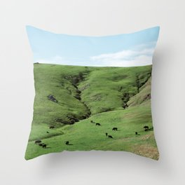 Green Rolling Hills of Central California 2 Throw Pillow