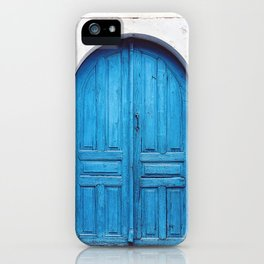Vibrant Blue Greek Door to Whitewashed Home in Crete, Greece iPhone Case