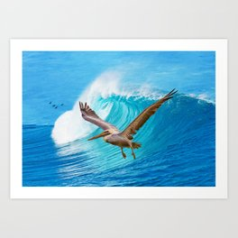 Pelican Wings and Ocean Waves Art Print