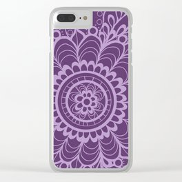 Lavender Dreams Flower Medallion - Medium with Light Outline Clear iPhone Case