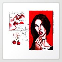 cherry~summer bummer Art Print