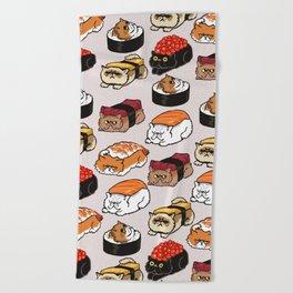 Sushi Persian Cat Beach Towel