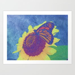 Butterfly and Sunflower Digital Art 2 Art Print