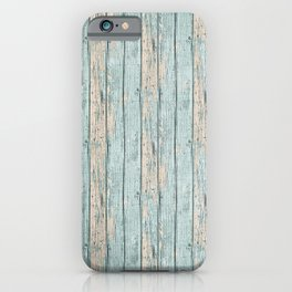 Rustic Beach Driftwood Vacation Blue Texture iPhone Case