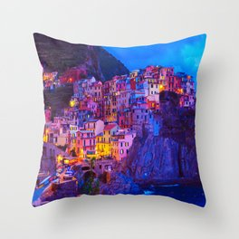 Manarola Cinque Terre Italy at Night Throw Pillow