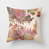 sydney Throw Pillows featuring Sydney by MapMapMaps.Watercolors