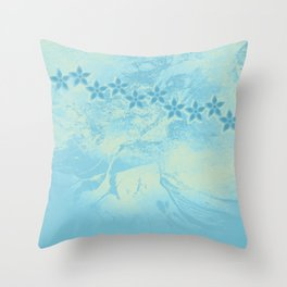 flowers in an abstract blue grunge landscape Throw Pillow
