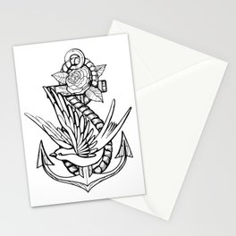 Anchor Swallow & Rose Old School Tattoo Style Stationery Cards