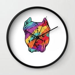 Colorful Pitbull Dog Lover Pitbull Dog Owner Gift Wall Clock