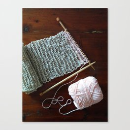 knitting, knitting photos, oatmeal color, peach, natural color, scarf, cotton Canvas Print