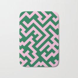 Cotton Candy Pink and Cadmium Green Diagonal Labyrinth Bath Mat