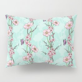 Japanese Garden - cherry blossom and anemones Pillow Sham