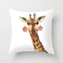 Girafe de Noël Throw Pillow