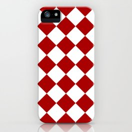 Red and white square pattern iPhone Case