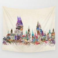 hogwarts Wall Tapestries featuring hogwarts school of magic by bri.buckley