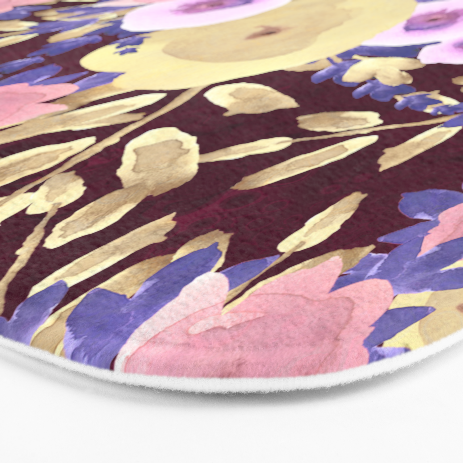 Watercolor Pink Lavender Yellow Burgundy Floral Bath Mat