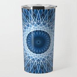 Bright blue and white mandala Travel Mug