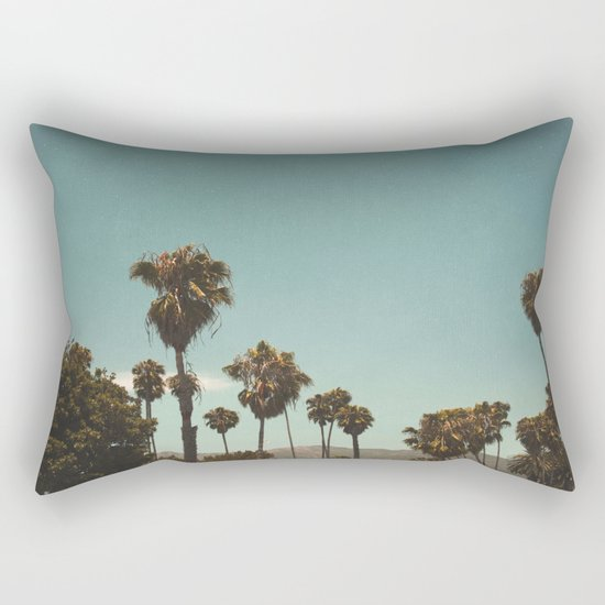 Palm trees before the mountain foot Rectangular Pillow