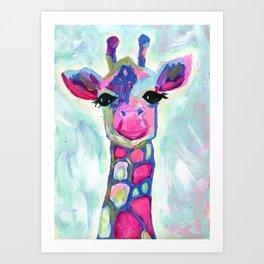Giraffe Painting, Colorful Blue Giraffe, Magenta Green Blue Giraffe Art Print