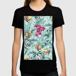 Bird of Paradise Greenery Aloha Hawaiian Prints Tropical Leaves Floral Pattern T-shirt