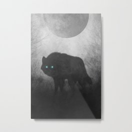 Black and White Wolf Moon Silhouette  Metal Print