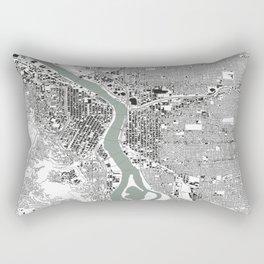 Portland, OR City Map Black/White Rectangular Pillow