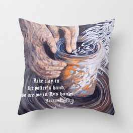 In the Potter's Hands with Scripture Throw Pillow