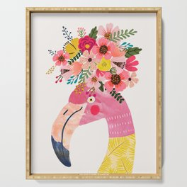 Pink flamingo with flowers on head Serving Tray