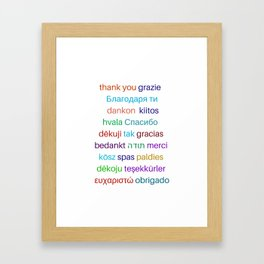 Thank you in different languages Framed Art Print