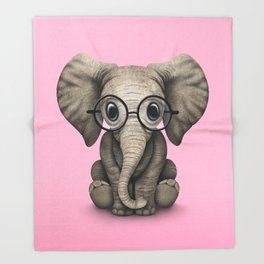 Cute Baby Elephant Calf with Reading Glasses on Pink Throw Blanket