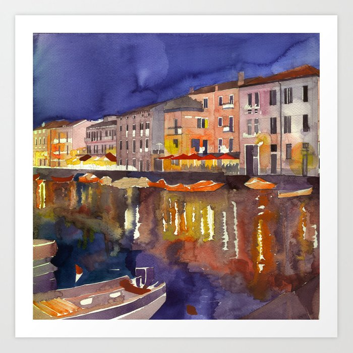 Night in Venice part 1 Art Print