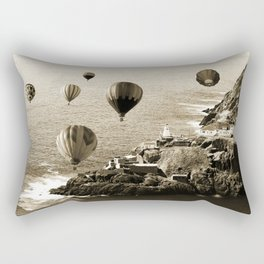 Flying Hot air Balloons over Newfoundland Monochrome Sepia color Rectangular Pillow