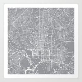 Washington Map, Dc USA - Pewter Art Print