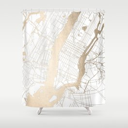 New York City White on Gold Shower Curtain