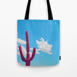 Pink Saguaro Against Blue Cloudy Sky Tote Bag
