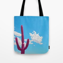 Pink Saguaro Against Blue Cloudy Sky Tote Bag