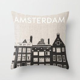 Amsterdam Canal Houses Black and White Canvas Throw Pillow