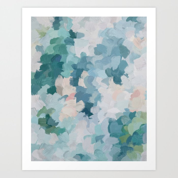 Mint Green Sky Blue Teal Blush Pink Abstract Nature Flower Wall Art, Spring Blossom Painting Kunstdrucke